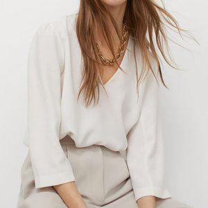 NWOT h&m puff sleeve white blouse shirt